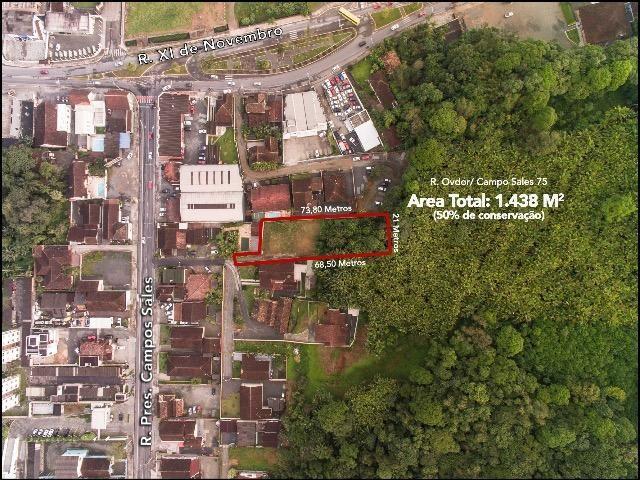 Terreno bem amplo (1.438m2) na lateral da Rua Campo Salles e Rua XV de Novembro