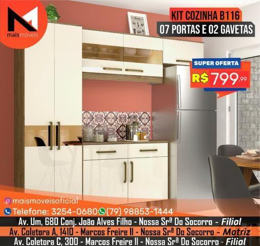 Kit Cozinha B116 07 Portas e 02 Gavetas