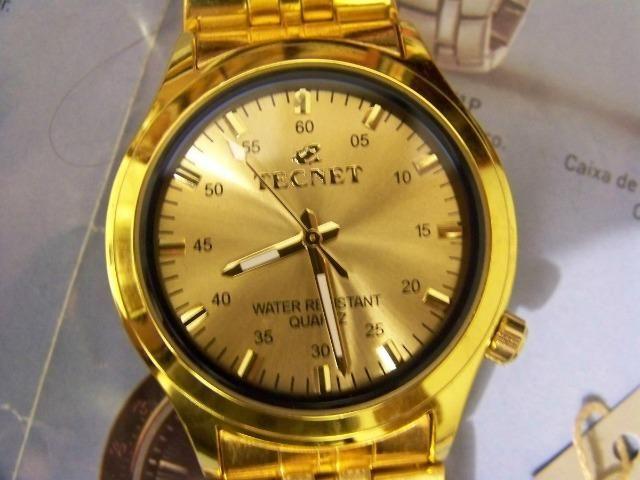 c149f385234 Relógio Tecnet Gold unissex a prova d água (entrega grátis) 3x sem juros
