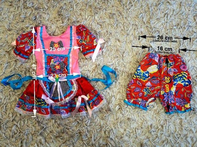 Vestido de festa junina tamanho 3 (para crianças de 2-3 anos) - Foto 3