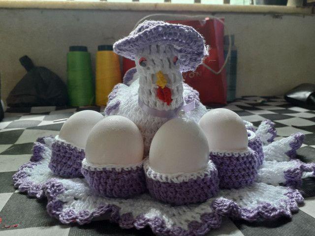 Porta ovos de crochê  - Foto 3