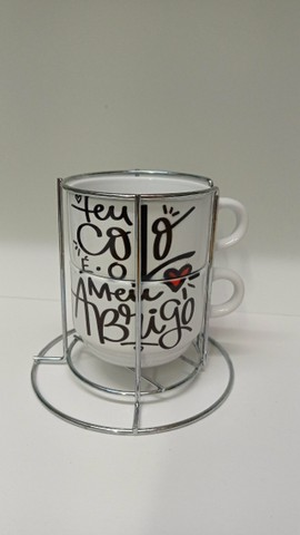 Kit 2 xicaras de café e porta xicara 180ml personalizado, msg, tema namorado