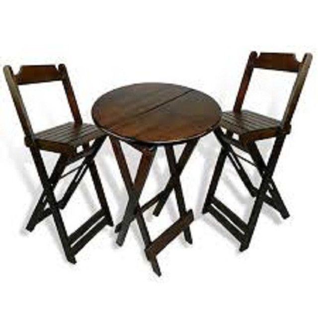Grande Liquidação - Mesa e Cadeiras Dobráveis de Madeira - Linha Especial - Foto 6