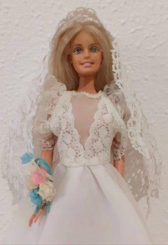 Barbie Mattel modelo 1999 vestida de noiva - Foto 2