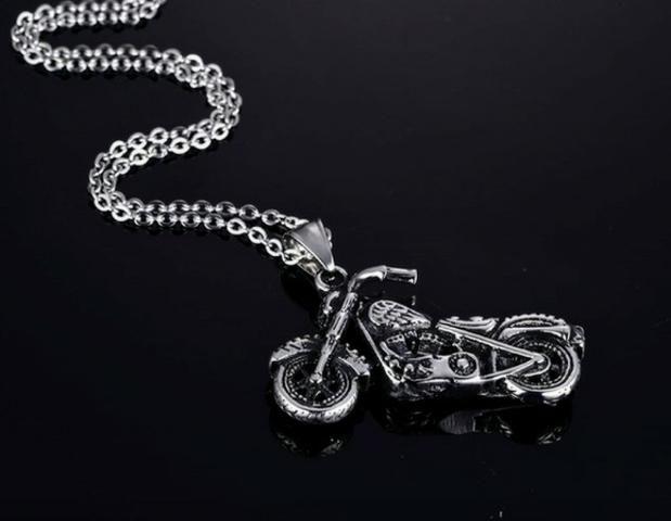 Corrente Cordão E Pingente Moto Aço Inoxidável - Foto 2