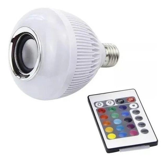 R$79,90 - Lampada Led 12w Rgb Caixa Som Bluetooth Controle 2 Em 1 Mp3 - Foto 3