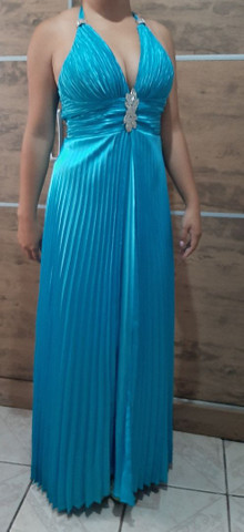 Vestido de festa plissado em cetim - Foto 4