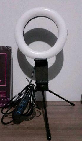 Ring Light Iluminador 6 Polegadas 16cm Led Tripé Com Suporte De Celular - Foto 2