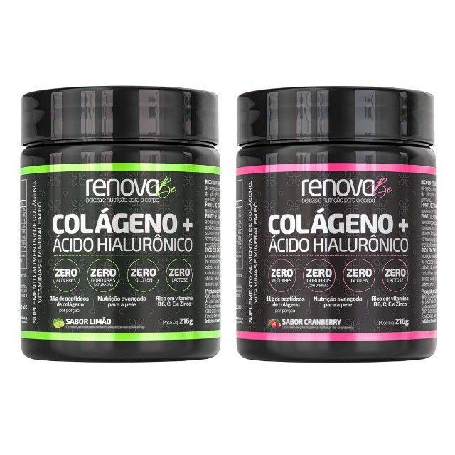 Renova Be Colágeno + Ácido Hialurônico e Vitaminas Para Pele, Sabor Limão e Cranberry  - Foto 3