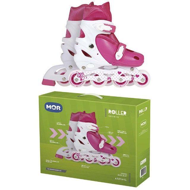 Patins roller infantil rosa tamanho ajustável 34 ao 37 Mor