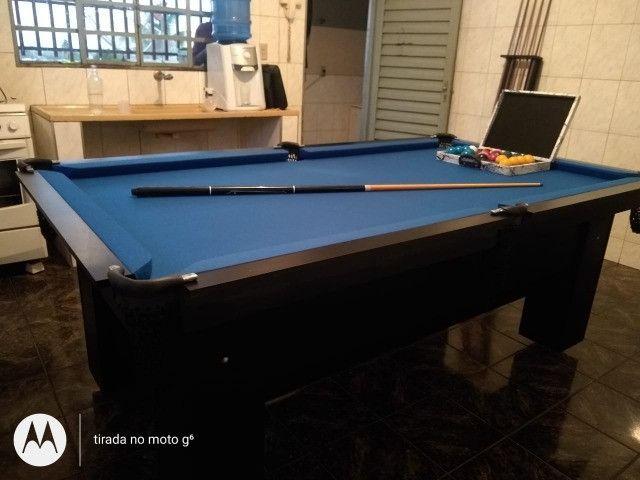 Mesa Charme Sinuca Cor Preta Tecido Azul Mod. ICUU2674 - Foto 2