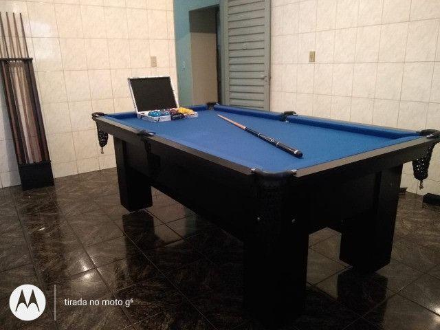 Mesa Charme Sinuca Cor Preta Tecido Azul Mod. ICUU2674 - Foto 3