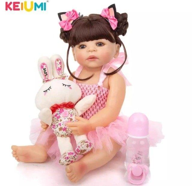 Bebê Reborn Keiumi Toda em Silicone, Menina  55 cm  Entrega Grátis e Imediata  - Foto 5