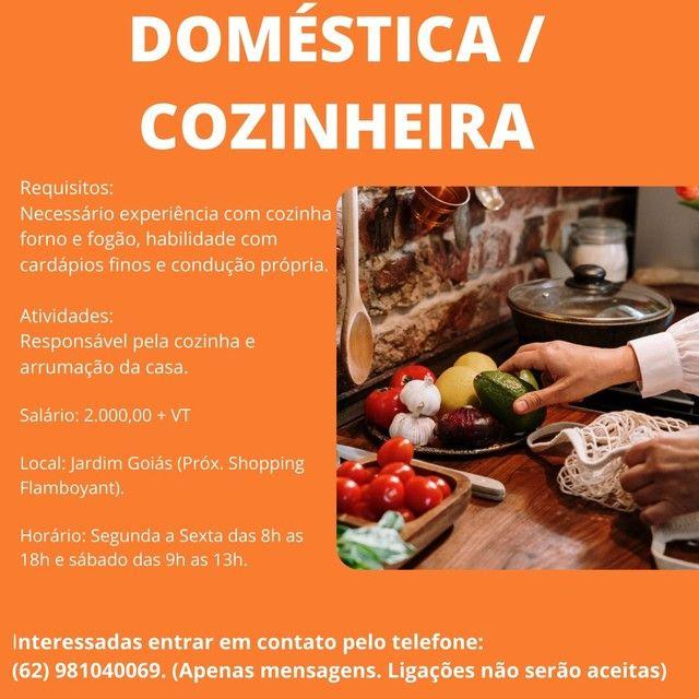 Oortunidade vaga para doméstica salário R$2200