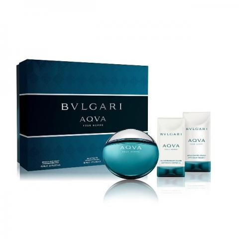 Kit Perfume Bvlgari Aqva Pour Homme edt 50ml after shave 75ml shower gel 75ml