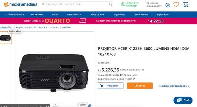 Projetor Acer X1223H 3600 Lumens 1024 x 768  - Foto 6