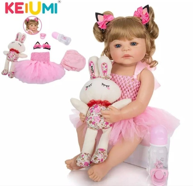 Bebê Reborn Keiumi Toda em Silicone, Menina  55 cm  Entrega Grátis e Imediata  - Foto 2