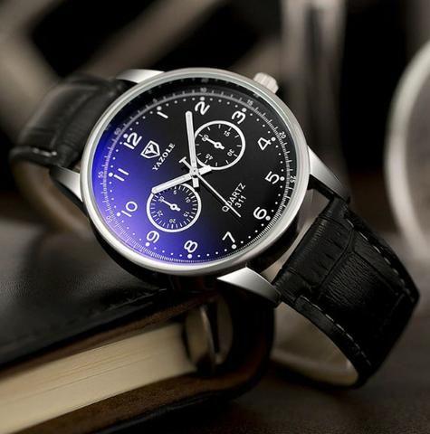bb615fea116 Relógio Luxo Masculino Yazole Pulso Social Pulseira Couro ...