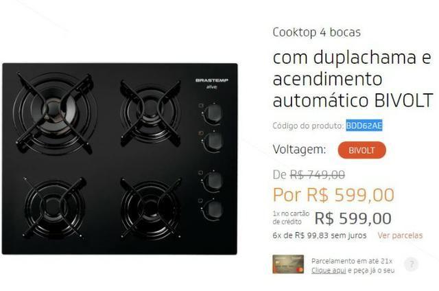 Fogão Cooktop 4 bocas Brastemp - NOVO
