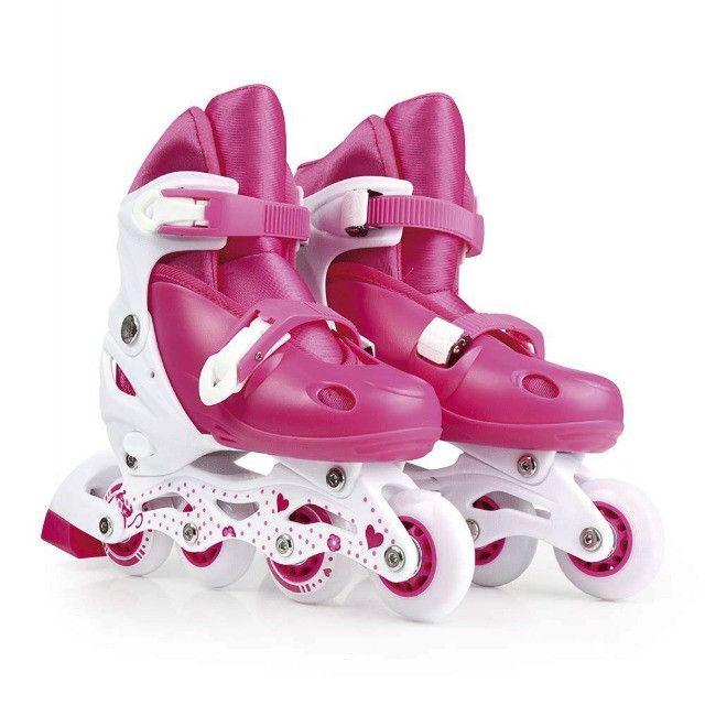 Patins roller infantil rosa tamanho ajustável 34 ao 37 Mor - Foto 2