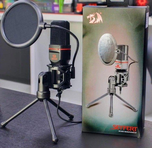 Microfone Redragon Seyfert GM100 XLR de 3.5 mm - Preto / Vermelho - Foto 3