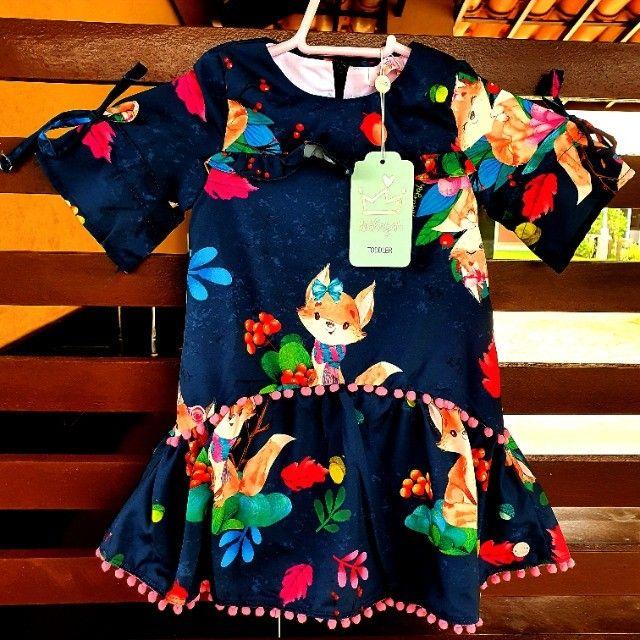Vestido Estampado com Manga 3/4 - Málagah Kids