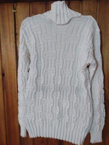234 - Blusa de lã branca feminina - Tam G - Foto 3