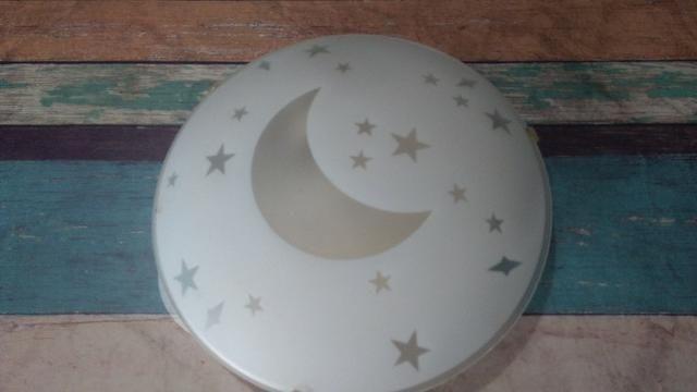 Plafon lua de vidro jateado- Diâmetro- 25cm(Parnaíba)