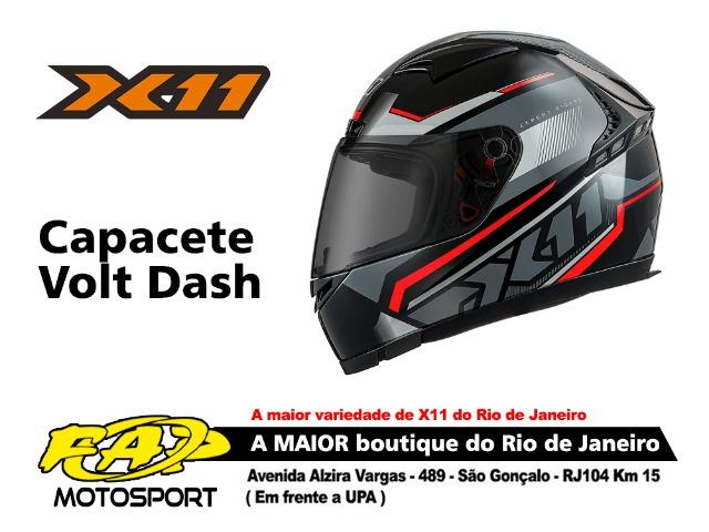 Capacete X11 Moto Volt Dash Preto Vermelho