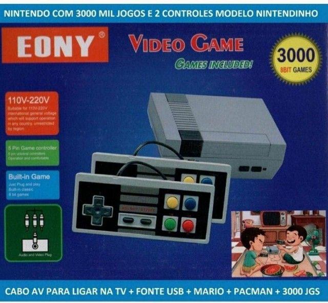 Video Game Eony Mini 3000 Jogos Retro 8 bits 2 Controles - Foto 4