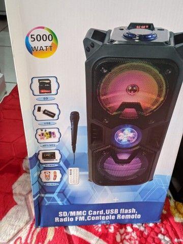 Caixa de som Bluetooth alta potência, com microfone, entrada USB, rádio FM - Foto 5