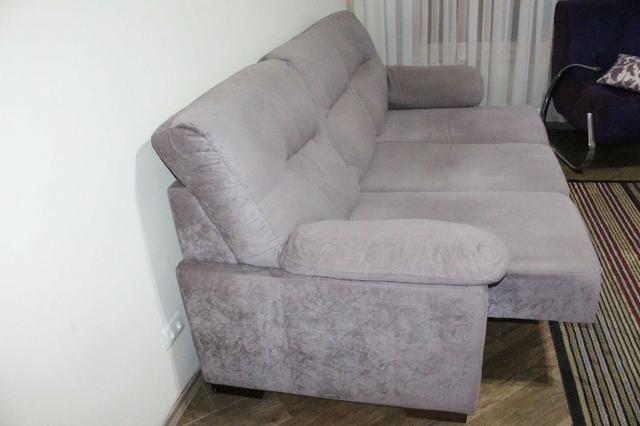 Sofá Cinza c/ Chaise Reclinável 2,17m