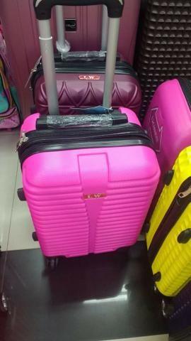 Mala pequena rosa nova ABS rígida resistente de rodinha para viagem com 2 zíperes