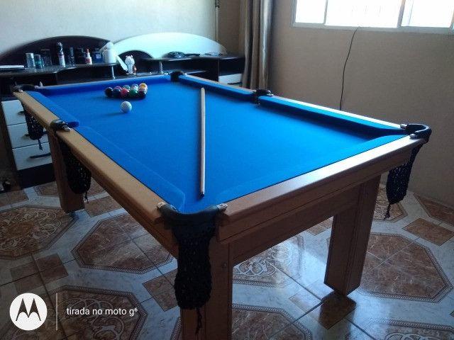 Mesa Tentação de Sinuca Cor Cerejeira Tecido Azul Mod. UDZO8451 - Foto 2