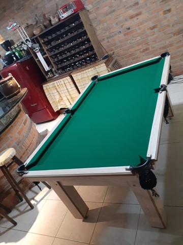 Mesa Tentação de Bilhar Cor Cerejeira Tecido Verde Mod. BASE5571