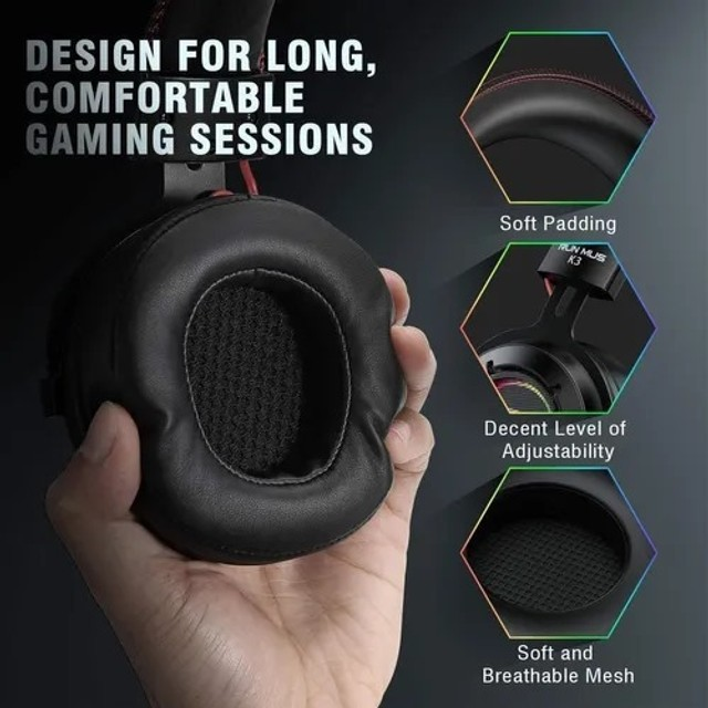 Fone De Ouvido Headset Gamer Jogos Run Mus K3 Rgb (6x no cartão) - Foto 4