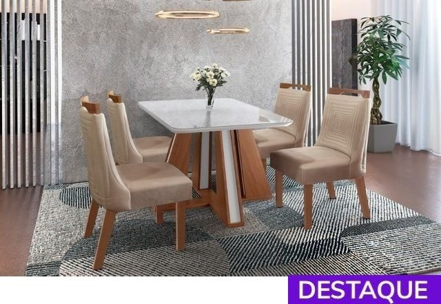 Mesa 4 Cadeiras Rubi - Catálogo completo via whats