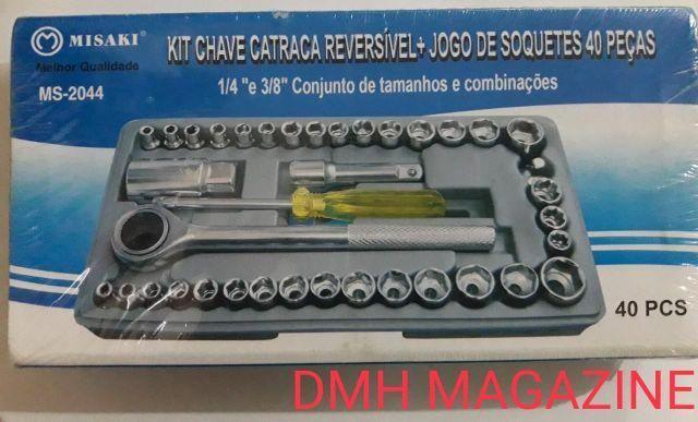 Jogo Chave Soquete Cachimbo Catraca Reversível 40 Pçs Maleta,,,