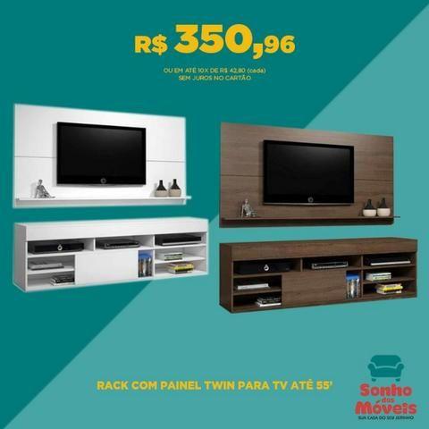 Siena Móveis - Rack com Painel Twin para TV até 55 Polegadas