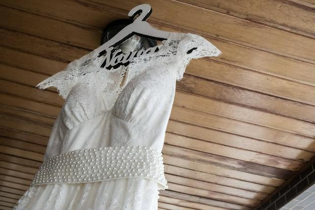 Vestido de noiva off-white com renda - Foto 4
