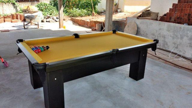 Mesa Charme Quatro Pés Cor Preta Tecido Amarelo Mod. IZUI0792 - Foto 2