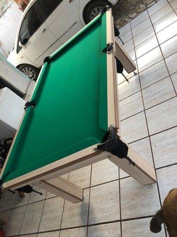 Mesa Tentação de Bilhar Cor Cerejeira Tecido Verde Mod. BASE5571 - Foto 3