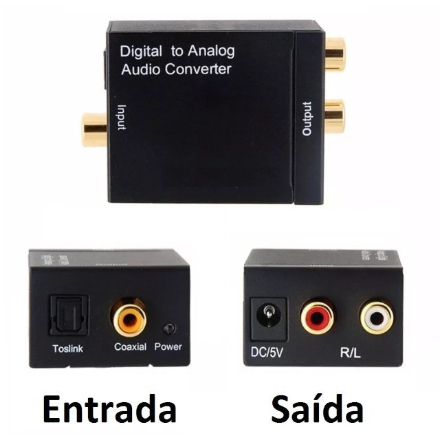 Conversor Audio Optico Digital de Fibra/coaxial Para RCA Analogico