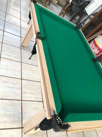 Mesa Tentação de Bilhar Cor Cerejeira Tecido Verde Mod. BASE5571 - Foto 2