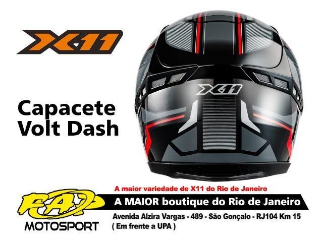 Capacete X11 Moto Volt Dash Preto Vermelho - Foto 2