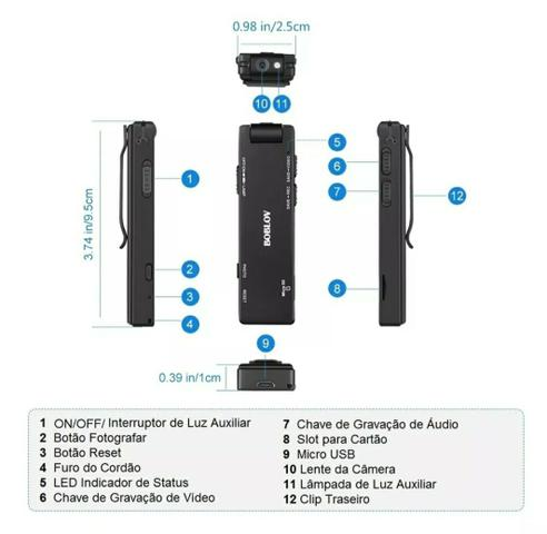 Mini câmera espiã HD filmadora externa corpo 1080 P