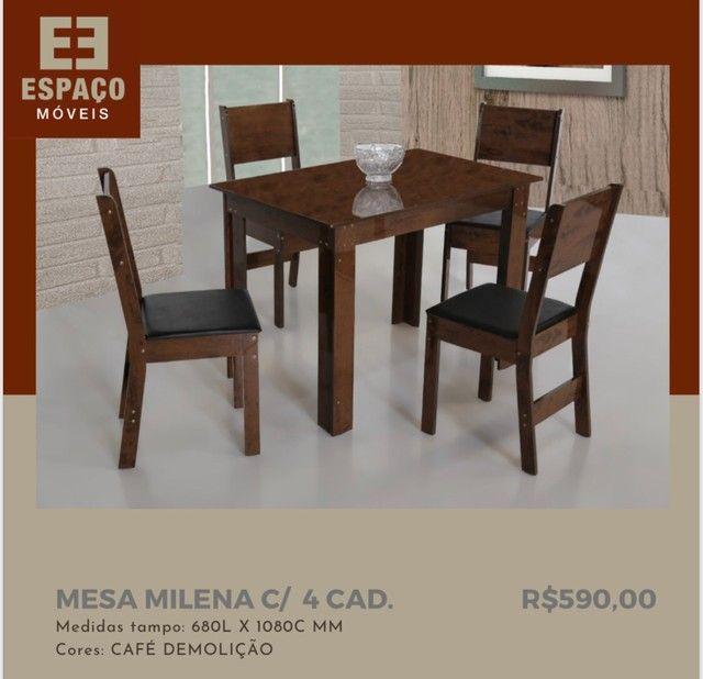 Mesa Milena com 4 Cadeiras em MDF #Entrega e Montagem Grátis