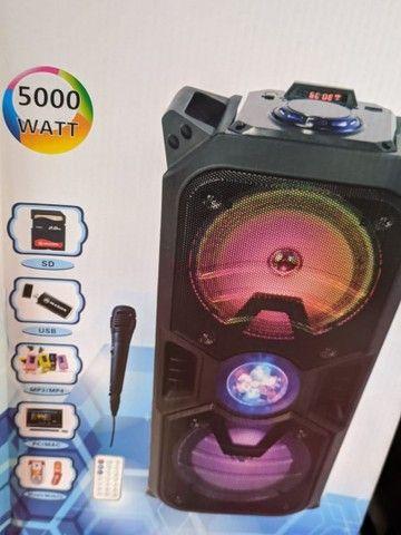 Caixa de som Bluetooth alta potência, com microfone, entrada USB, rádio FM - Foto 2