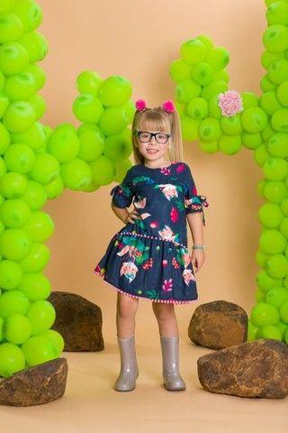 Vestido Estampado com Manga 3/4 - Málagah Kids - Foto 2