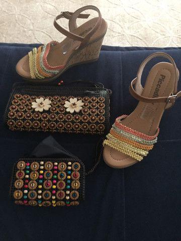 Sandália e bolsa